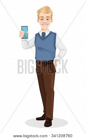 Successful Business Man In Office Style Clothes. Handsome Blonde Businessman Holding Smartphone. Che