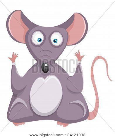 Funny rat. Cartoon mouse.