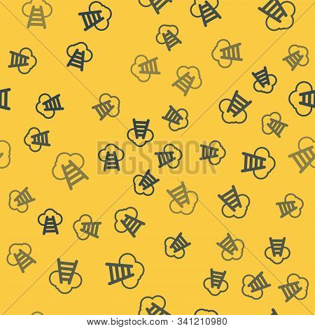 Blue Line Ladder Leading To Cloud Icon Isolated Seamless Pattern On Yellow Background. Stairs Leadin