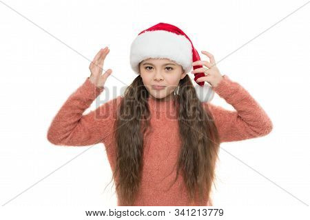 Anxiety Concept. Mental Wellbeing. Something Bothers Her. Winter Spirit. Santa Claus Kid. Little Chi