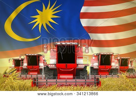 A Lot Of Red Farming Combine Harvesters On Farm Field With Malaysia Flag Background - Front View, St
