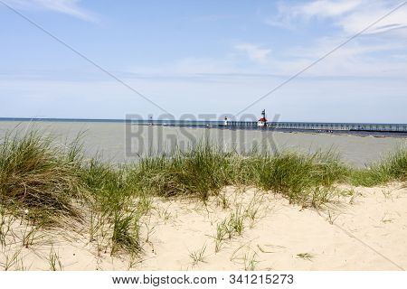 Lighthouse At Silver Beach In St. Joseph Michigan.