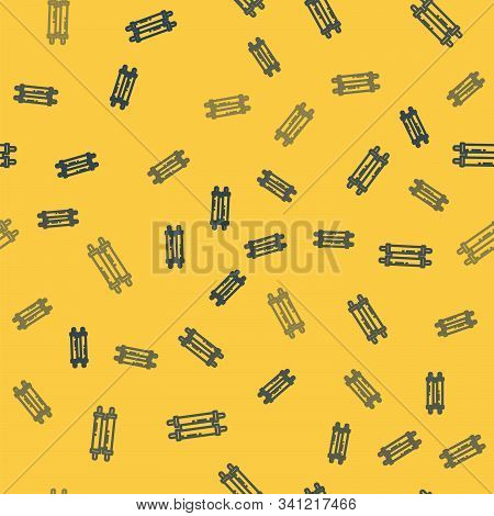 Blue Line Torah Scroll Icon Isolated Seamless Pattern On Yellow Background. Jewish Torah In Expanded