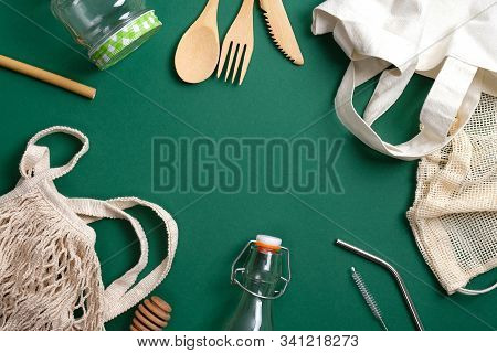 Set Of Eco Friendly Bamboo Cutlery, Reusable Canvas Shopper Bag, Glass Jar And Bottle, String Bag, M