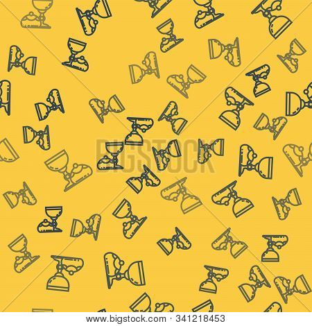 Blue Line Jewish Goblet And Hanukkah Sufganiyot Icon Isolated Seamless Pattern On Yellow Background.