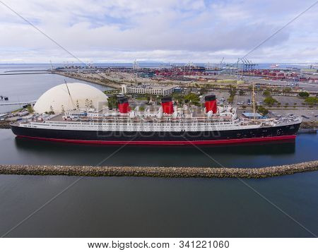 Los Angeles - Jun. 21, 2019: Queen Mary Aerial View In Harbor Of Long Beach, Los Angeles County, Cal