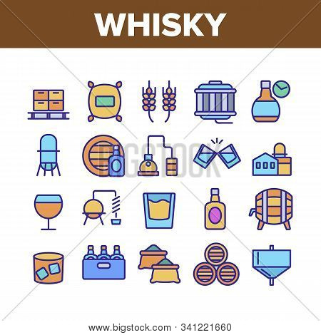 Whisky Alcoholic Drink Collection Icons Set Vector Thin Line. Bottle And Wooden Barrel Whisky, Wheat