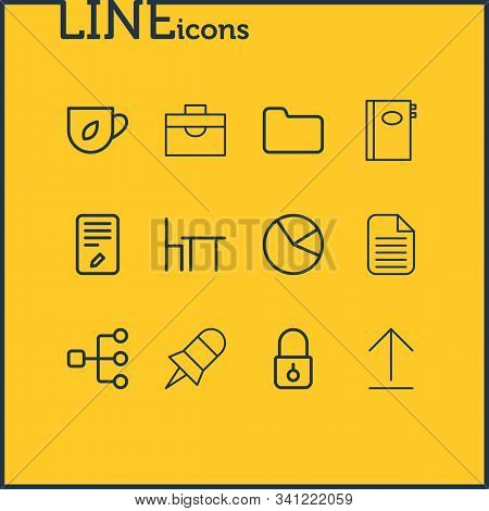 Vector illustration of 12 bureau icons line style. Editable set of briefcase, directory, notebook and other icon elements. poster