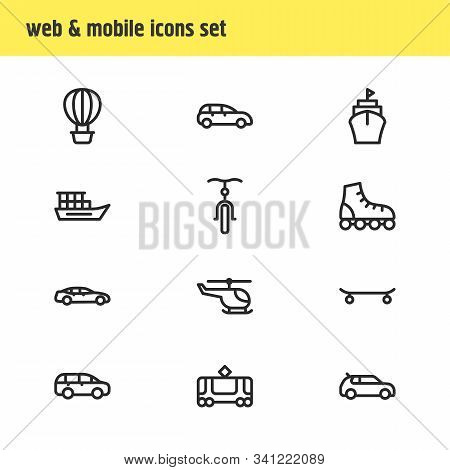 Vector Illustration Of 12 Transit Icons Line Style. Editable Set Of Mpv, Medium Car, Air Balloon And