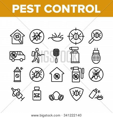 Pest Control Service Collection Icons Set Vector Thin Line. Insects Exterminator And Protection Mask