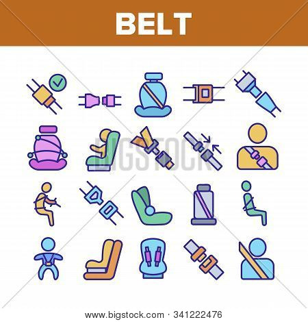 Belt Safety Equipment Collection Icons Set Vector Thin Line. Driver Strapped Car Seat Belt, Protecti