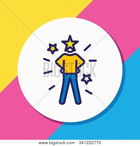 Vector Illustration Of Self-confidence Icon Colored Line. Beautiful Emoticon Element Also Can Be Use