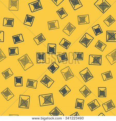 Blue Line Exam Paper With Incorrect Answers Survey Icon Isolated Seamless Pattern On Yellow Backgrou
