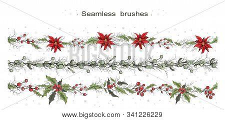 Seamless Vector Brushes Of Winter Flowers (poinsettia, Holly, Mistletoe, Rowan). Hand-drawn Sketch,