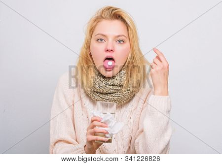 Girl Take Medicine To Break Fever. Headache And Fever Remedies. Woman Sick Person Hold Glass Water A