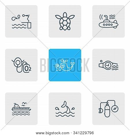Vector illustration of 9 marine icons line style. Editable set of oxygen balloons, cetacean, diving board and other icon elements. poster