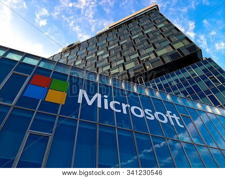 Bucharest, Romania - November 27, 2019: View Of Microsoft Romania Headquarters In City Gate Towers S