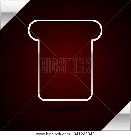 Silver Line Bread Toast For Sandwich Piece Of Roasted Crouton Icon Isolated On Dark Red Background.