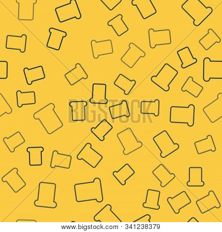 Blue Line Bread Toast For Sandwich Piece Of Roasted Crouton Icon Isolated Seamless Pattern On Yellow