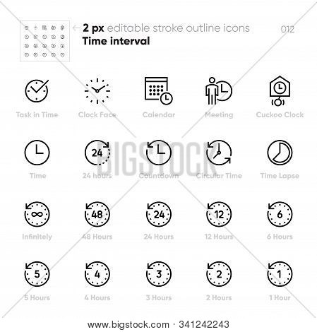 Time Interval And Clock Face Outline Vector Icons. Meeting, Calendar, 24 Hours