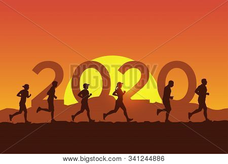 Happy New Year Card 2020, Group Of People Running In The Marathon. Vector