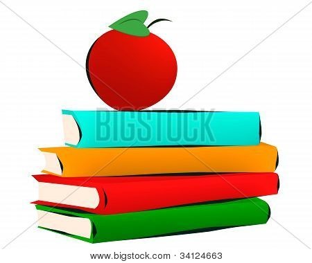 Books And Apple Isolated On White