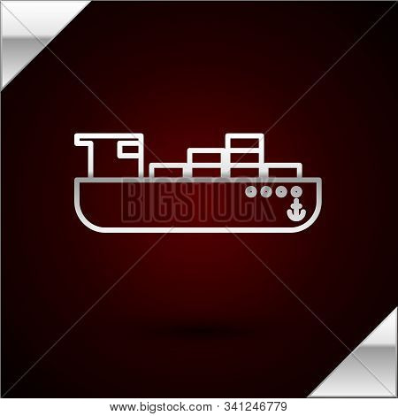 Silver Line Cargo Ship With Boxes Delivery Service Icon Isolated On Dark Red Background. Delivery, T