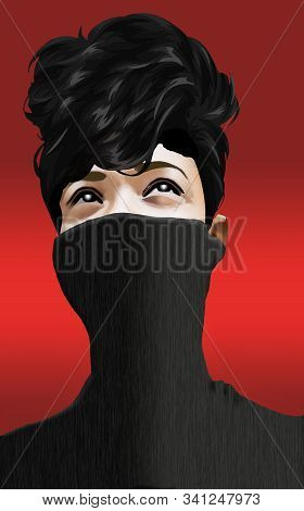 A Girl Wears A Turtle Neck Sweater Pulling It Up Over Half Of Her Face In This Illustraton About Swe