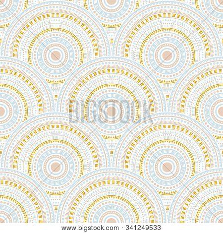 Indian Medallions Mosaic Batik Print Vector Seamless Pattern. Oriental Motifs Contemporary Repeating