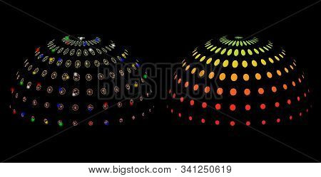 Flare Mesh Abstract Dotted Semi-sphere Icon With Glare Effect. Abstract Illuminated Model Of Abstrac