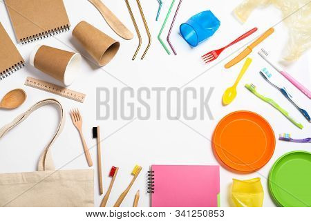 Household Goods On White Background, Top View. Recycling Concept