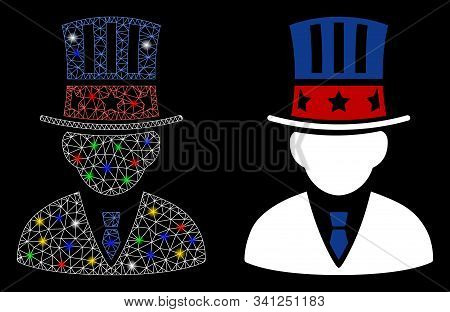 Glossy Mesh American Capitalist Icon With Lightspot Effect. Abstract Illuminated Model Of American C