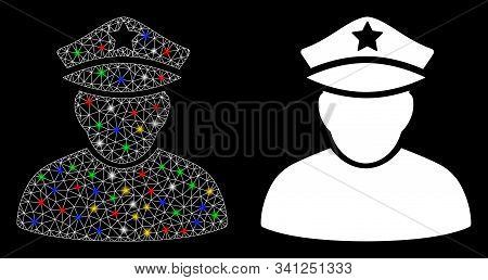 Flare Mesh Army Sergeant Icon With Lightspot Effect. Abstract Illuminated Model Of Army Sergeant. Sh