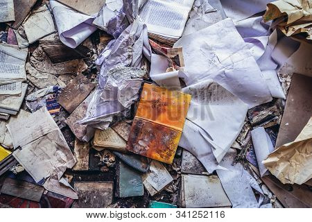 Skrunda, Latvia - June 26, 2016: Old Books In Garrison Shop In Soviet Military Ghost Town And Radar