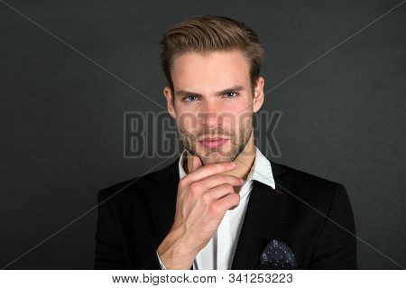 To Shave Or Not To Shave. Serious Man Touch Beard. Businessman With Stylish Mustache And Beard Shape