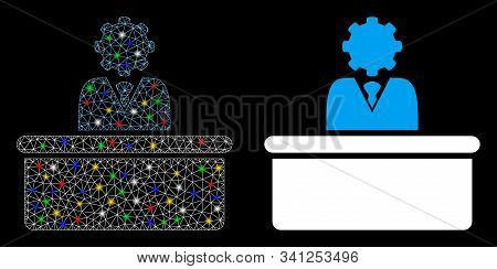 Glowing Mesh Bureaucrat Icon With Glow Effect. Abstract Illuminated Model Of Bureaucrat. Shiny Wire