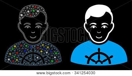 Flare Mesh Captain Icon With Sparkle Effect. Abstract Illuminated Model Of Captain. Shiny Wire Frame