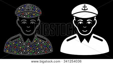 Glossy Mesh Captain Icon With Sparkle Effect. Abstract Illuminated Model Of Captain. Shiny Wire Fram