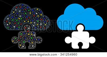 Glossy Mesh Cloud Component Icon With Glare Effect. Abstract Illuminated Model Of Cloud Component. S