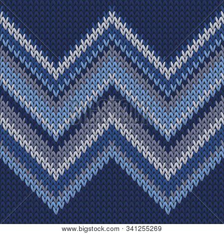 Clothing Zig Zal Lines Knitted Texture Geometric Seamless Pattern. Fair Isle Sweater Knitwear Fabric