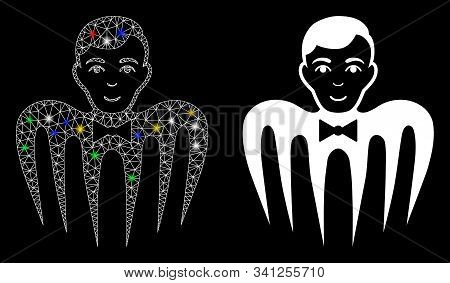 Flare Mesh Croupier Spectre Monster Icon With Glitter Effect. Abstract Illuminated Model Of Croupier