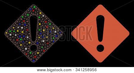 Flare Mesh Exclamation Icon With Glare Effect. Abstract Illuminated Model Of Exclamation. Shiny Wire