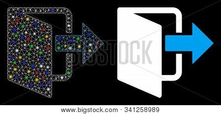 Flare Mesh Exit Door Icon With Glow Effect. Abstract Illuminated Model Of Exit Door. Shiny Wire Fram