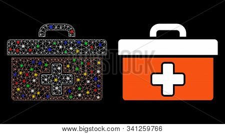 Glossy Mesh First Aid Toolbox Icon With Sparkle Effect. Abstract Illuminated Model Of First Aid Tool