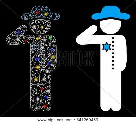 Glowing Mesh Gentleman Officer Icon With Lightspot Effect. Abstract Illuminated Model Of Gentleman O