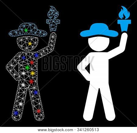 Glowing Mesh Gentleman With Freedom Torch Icon With Glow Effect. Abstract Illuminated Model Of Gentl