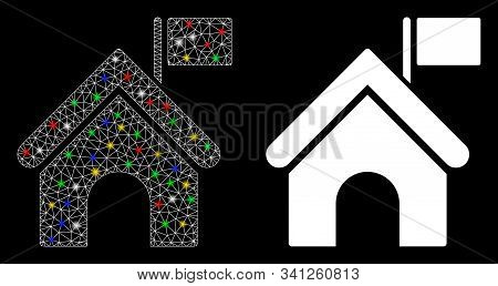 Glossy Mesh Government Building With Flag Icon With Glare Effect. Abstract Illuminated Model Of Gove