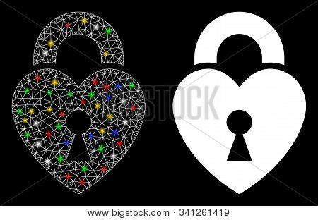 Flare Mesh Heart Lock Icon With Glare Effect. Abstract Illuminated Model Of Heart Lock. Shiny Wire C