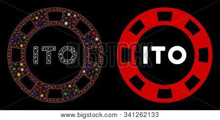 Glossy Mesh Ito Token Icon With Lightspot Effect. Abstract Illuminated Model Of Ito Token. Shiny Wir