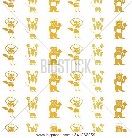 Vector Gold Foil Vertical Anthropomorphic Cartoon Characters Seamless Pattern Background